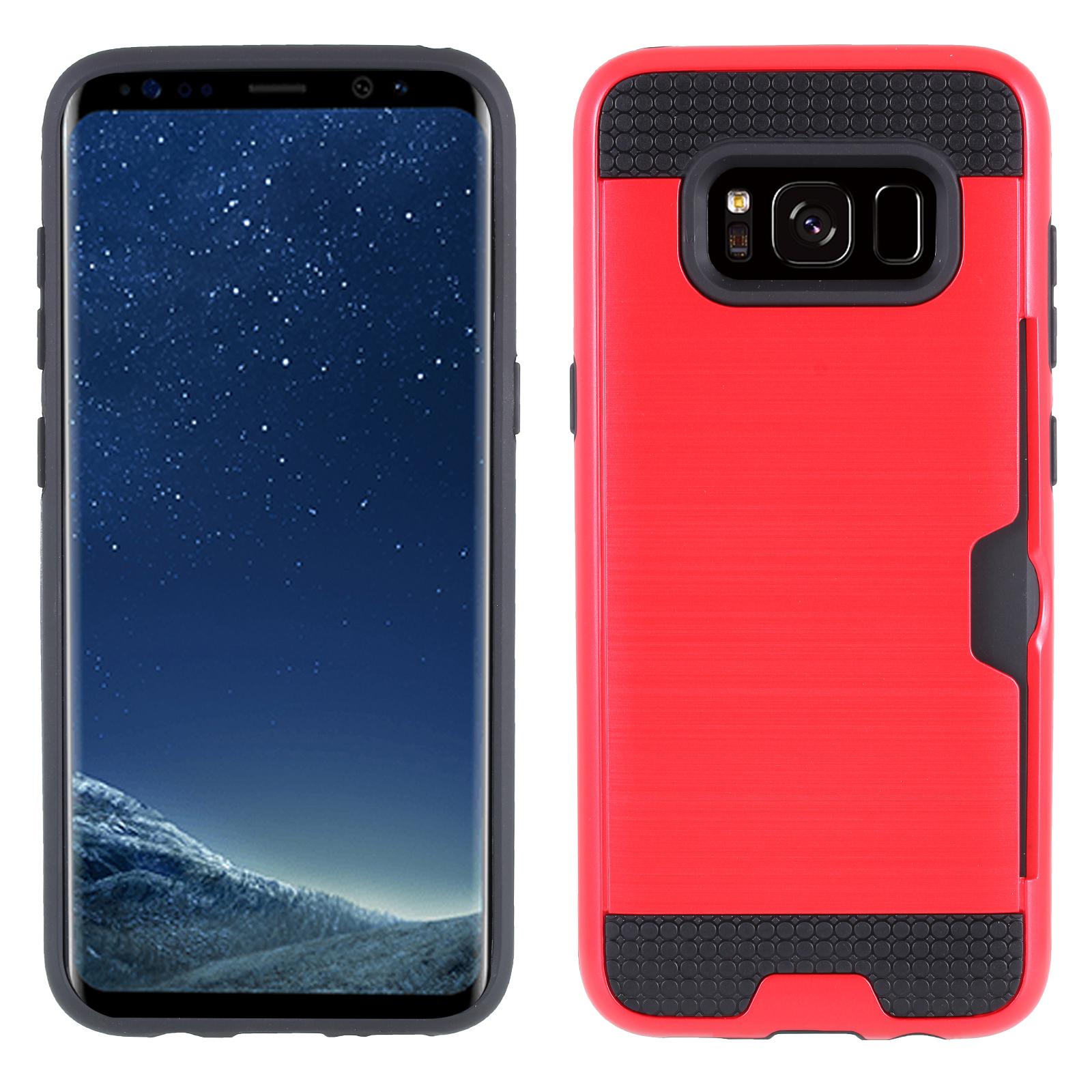 Coque Chromée avec Porte-Cartes Intégré pour Samsung S8 Rouge